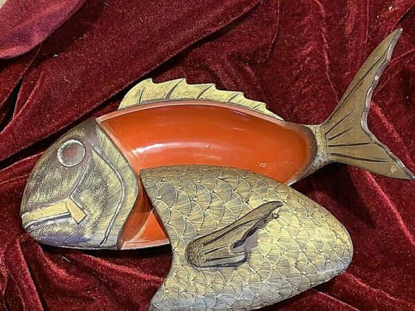 Antique Chinese Lacquer Fish Box. Red with gold hand painted scales. 11quot; $200.00