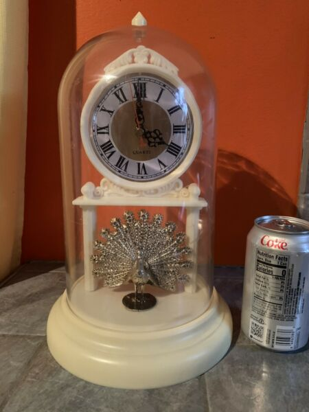 Vintage UNIQUE Mantel CLOCK with FIREPLACE amp; PEACOCK with DOME