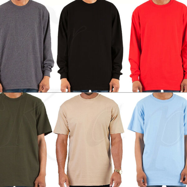 Heavy T Shirt Men Heavyweight Thick Long Sleeve Solid Crew Neck Cotton Tee Pack