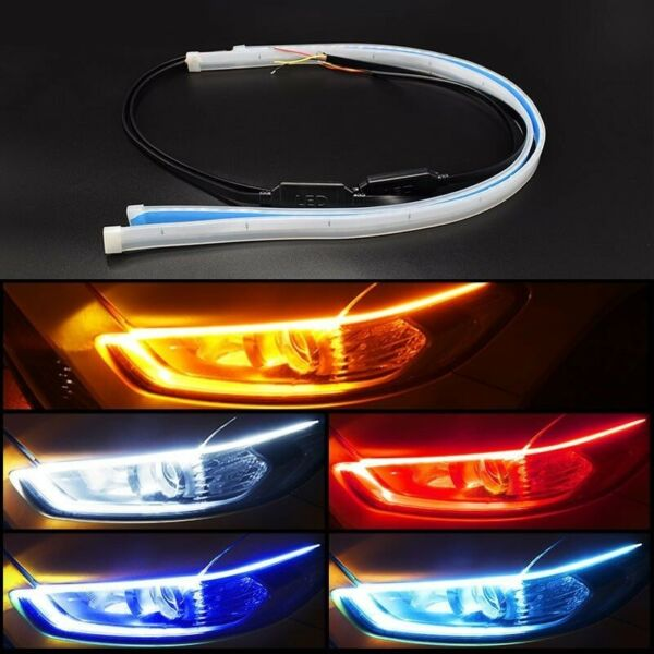 Car LED Light Strip Lamp Headlight Brake Side Turn Signal Auto Decor DRL 2pcs