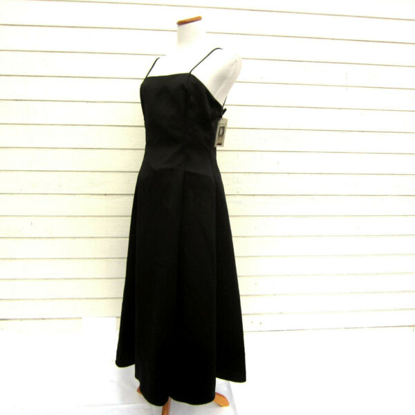 Vtg 80s Scott McClintock Black Satin Long Formal Prom Cocktail Dress Sz 10