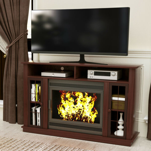 TV Stand Unit Console w Storage Fireplace Mantel Surround for Living Room Brown