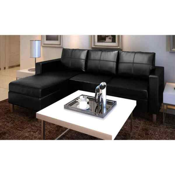 Sectional Sofa 3 Seater Artificial Leather Black $416.36
