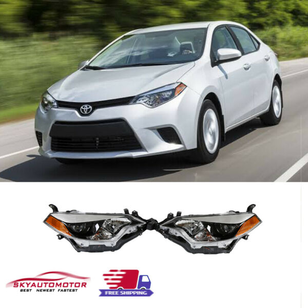 Fits for 2014' 2015' 2016' Toyota Corolla Headlights Black Factory Style Pair