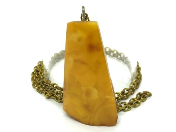 Old Vintage Baltic Amber Pendant Egg Yolk Butterscotch Bronze Chain 161g 9853