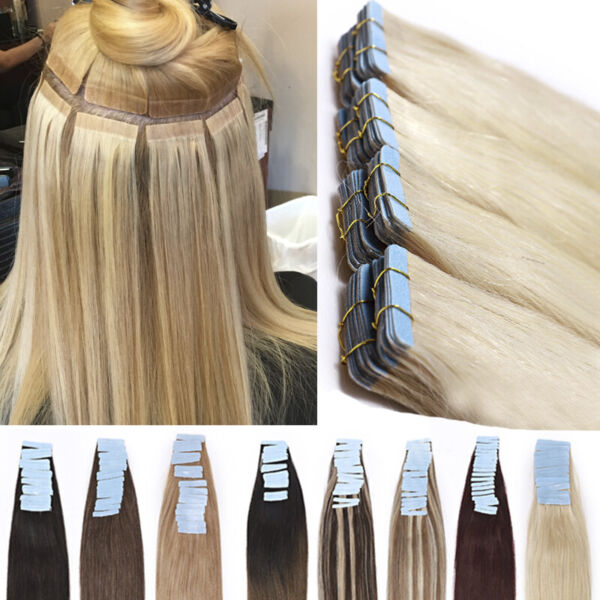 Thick 200g 80pcs Tape In Remy Human Hair Extensions Skin Weft FULL HEAD BLONDE F
