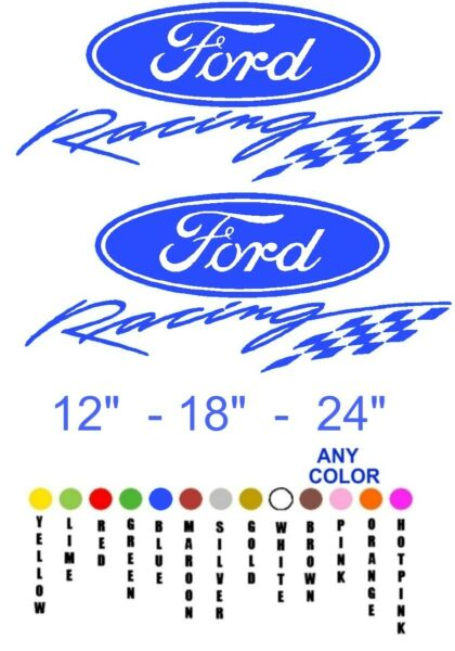 FORD racing stickers decals ANY COLOR TWO DECALS flag race