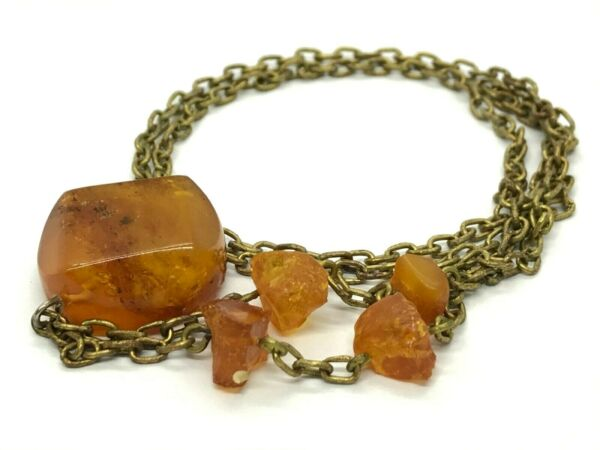 Old Vintage Natural Baltic Amber Pendant Yellow Honey Bronze Chain 111g 9764