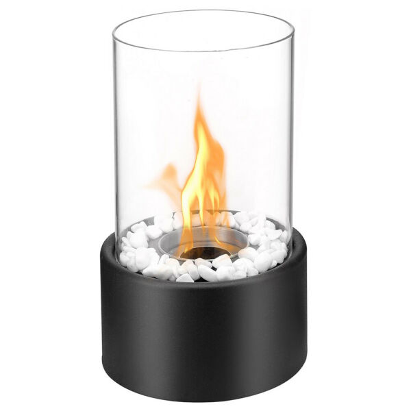 Regal Flame Eden Ventless Tabletop Portable Bio Ethanol Real Fireplace in Black
