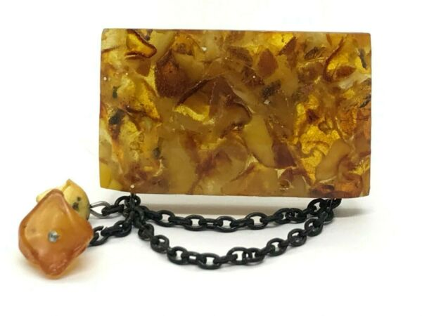 Vintage AMBER BROOCH Old Antique Pressed Natural Baltic Amber Beads 161g 9746