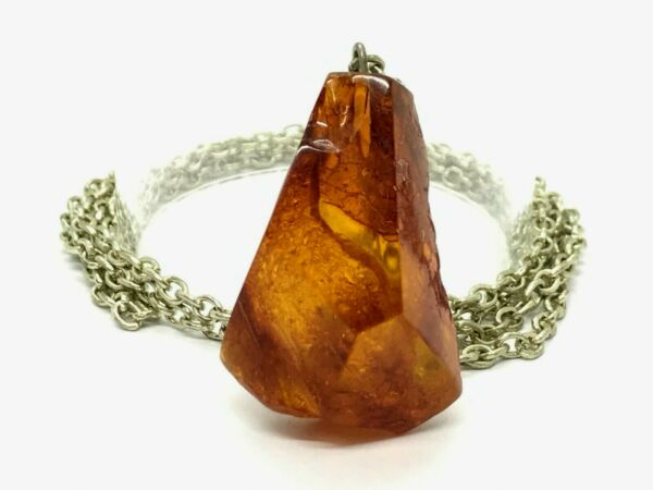 Old Vintage Natural Baltic Amber Pendant Cognac Honey Melchior Chain 171g 9832