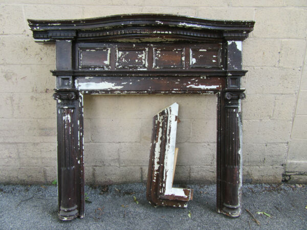 ORNATE ANTIQUE FIREPLACE MANTEL 54.5 X 52 ARCHITECTURAL SALVAGE