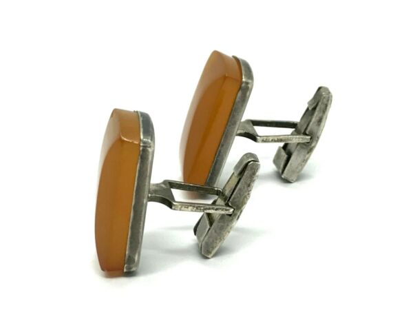 Old Vintage Antique Pressed Natural Baltic Amber Cufflinks Silver 875 121g 132S