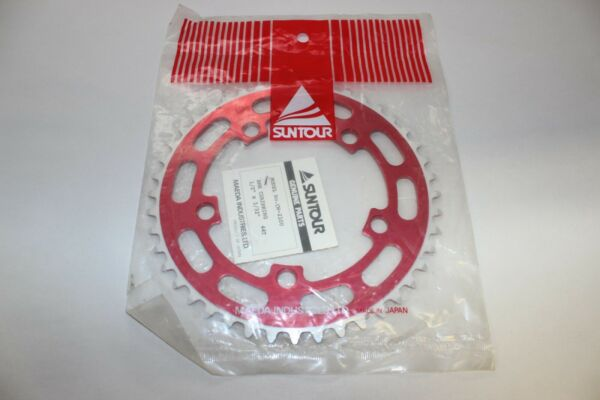 NOS SUNTOUR 44T CHAINWHEEL CHAIN RING RED BMX VINTAGE OLD SCHOOL