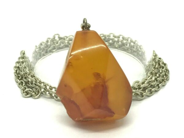 Old Vintage Baltic Amber Pendant Egg Yolk Butterscotch Melchior Chain 171g 9982