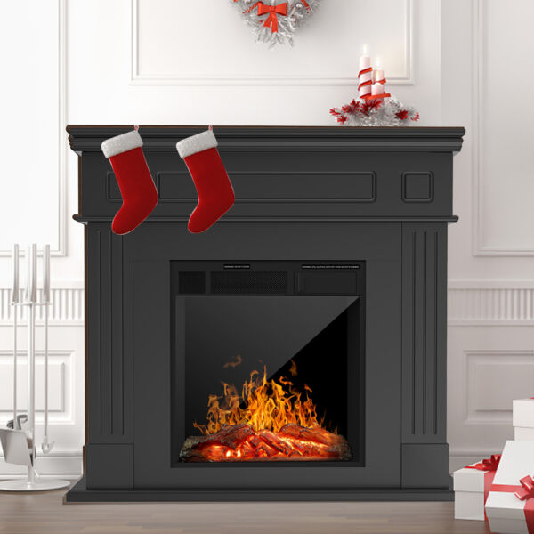 Electric Fireplace Heater w Wood Mantel Cabinet LED Logs Remote Control Black
