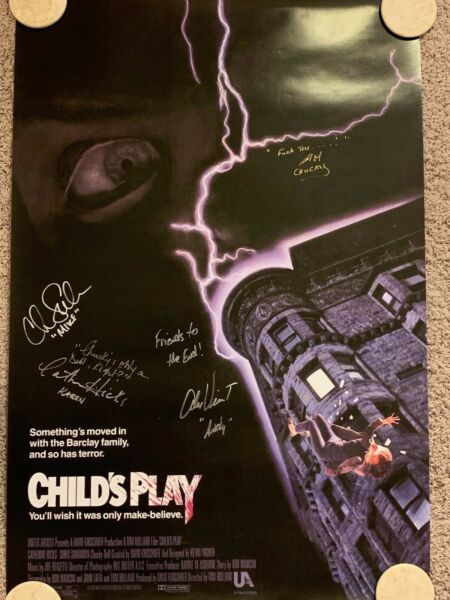 CHILD#x27;S PLAY Signed by Chucky Brad Dourif and cast 27 x 40 poster