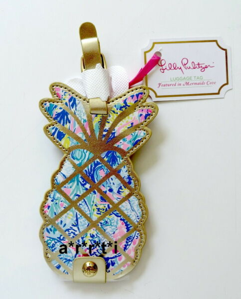 Lilly Pulitzer Leatherette Luggage Tag Pineapple Shaped Mermaids Cove NWT