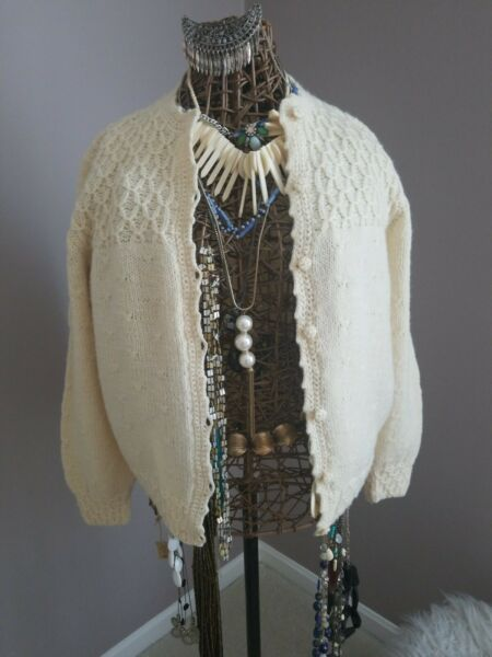 Vintage Mark Shale Womens Fisherman Ivory Cable Knit Cardigan Sz Medium