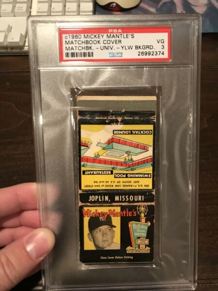 Mickey Mantle Holiday Inn Matchbook - Rare Yellow Background - PSA 3
