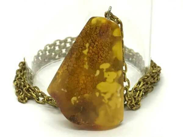 Old Vintage Baltic Amber Pendant Egg Yolk Honey Cognac Bronze Chain 141g 10281