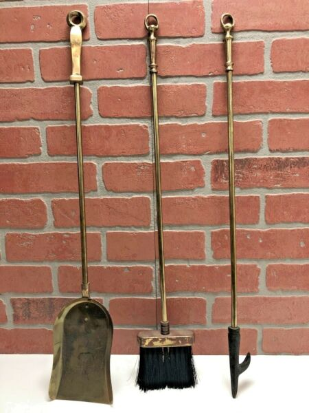 Vintage 3 Piece Brass Metal Fireplace Tool Set Heavy Duty Modern