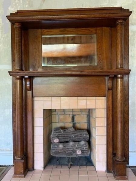 Antique Vintage Salvage Historic Home Fireplace Mantel with Mirror 1