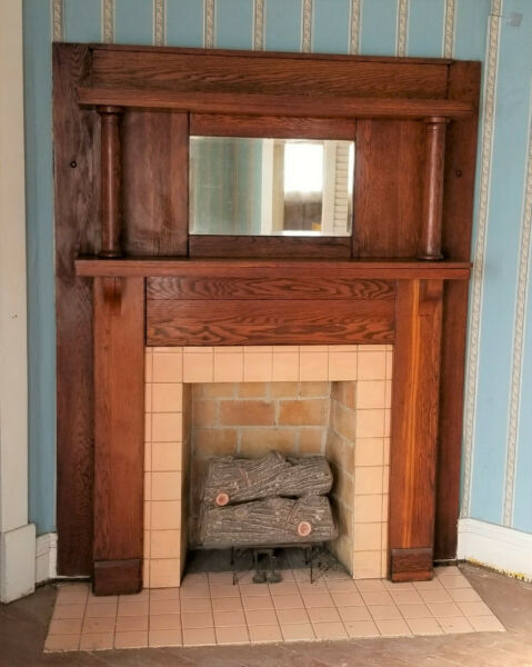 Antique Vintage Salvage Historic Home Fireplace Mantel with Mirror 2