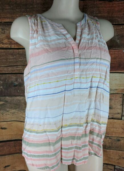 Sonoma~XL~Sleeveless Striped Tank Top Pink Split Neck