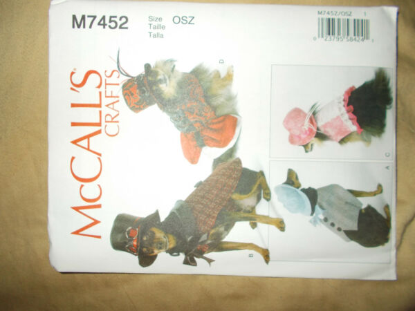 McCALLS #7452 SIZE OSZ CRAFTS PET COSTUMES DOGS ALL SIZE SEWING PATTERNS $6.99