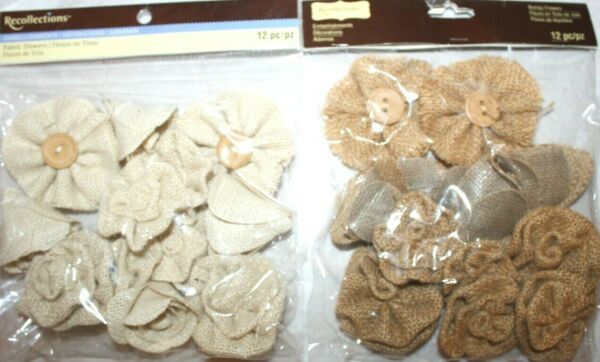 Recollections Burlap Fabric Flowers Pack of 12 Brown or Beige 3 Styles NIP Decor