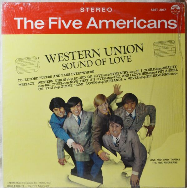 The Five Americans Western Union Shrink LP EX Vinyl Original Stereo Issue NICE