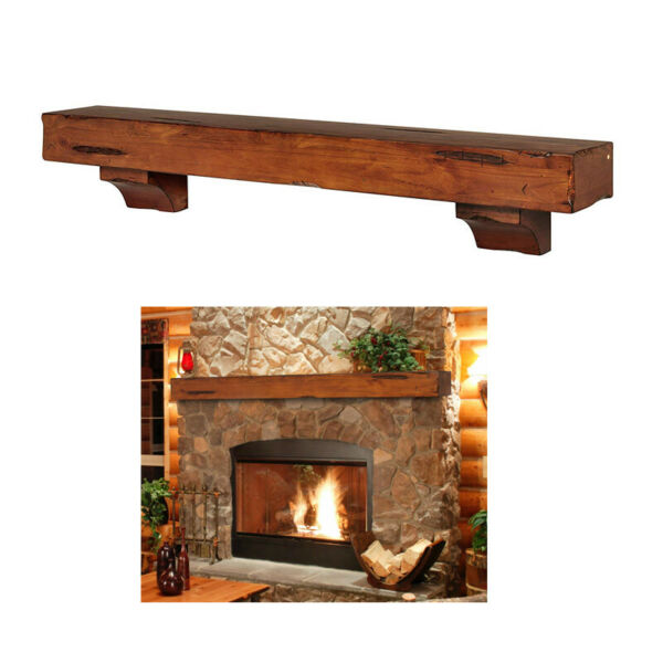 Pearl Mantels Shenandoah Traditional Fireplace Mantel Shelf Rustic Medium 60 In