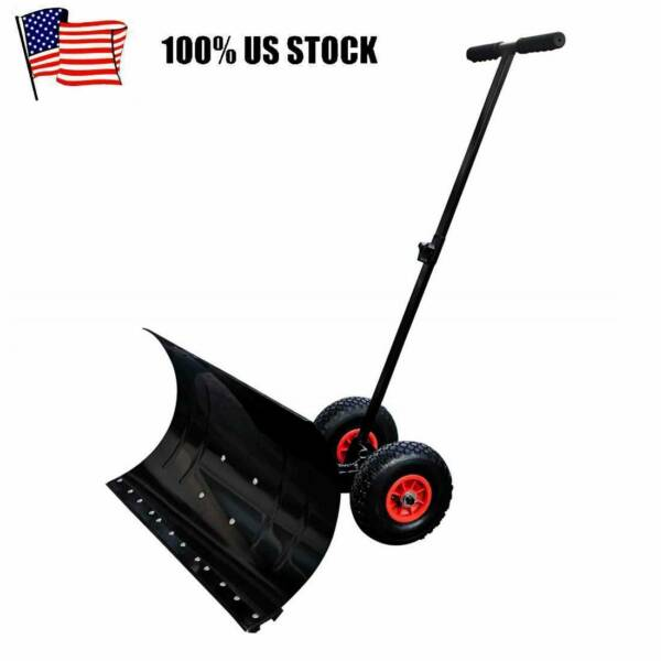 Heavy Duty Steel Adjustable Rolling Snow Shovel Pusher With Rubber Wheels