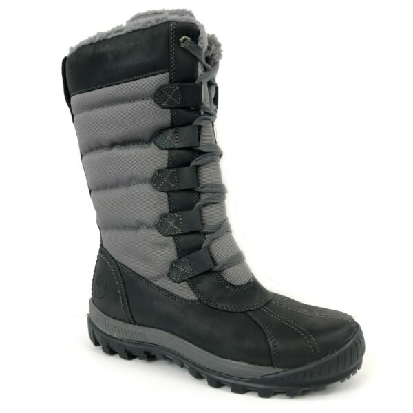 Timberland Women#x27;s MT. Hayes Tall Waterproof Black Snow Boots A11SN $109.99