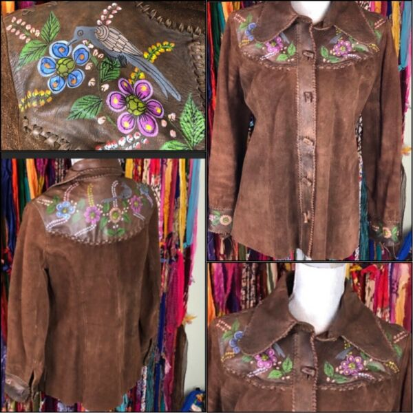 CHAR hand painted leather JACKET 14 vintage 1970s.