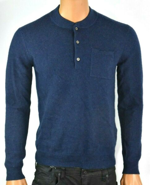 Tasso Elba Mens Sweater S New Navy Blue Henley Cashmere Long Sleeve $200