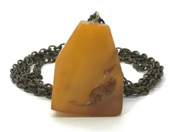 Old Vintage Baltic Amber Pendant Egg Yolk Butterscotch Original Chain 161g 9980