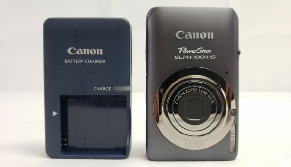 Canon PowerShot ELPH 100 HS 12.1MP Digital Camera with Battery Charger Gray