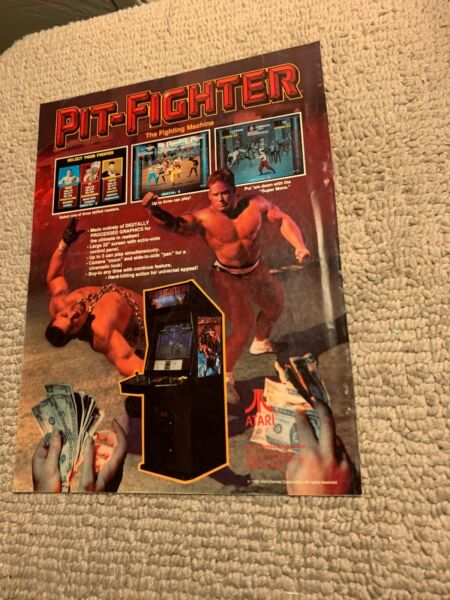 """11 8 1 4"""" Pit Fighter Atari Dr Dude Bally Pinball arcade video game AD FLYER"""