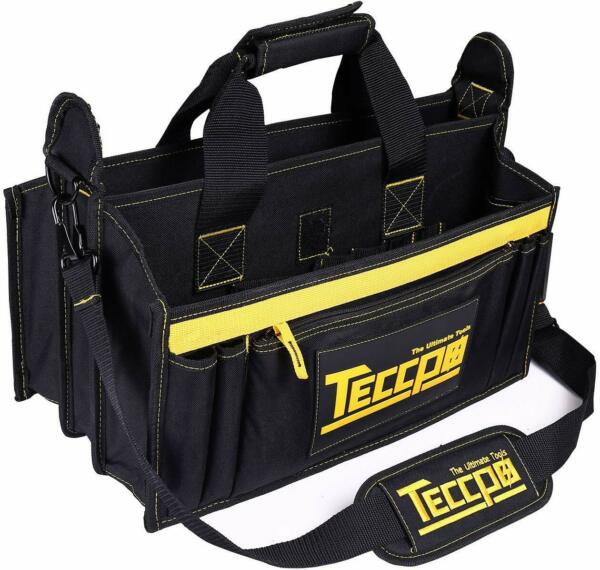 Tool Bag TECCPO Heavy Duty Bag 3 Max Extended Space and 9+7 Pockets with Wear