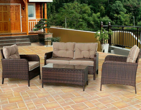 Patio Clearance Furniture Set Outdoor Rattan Loveseat Sectional Table Sofa Chair