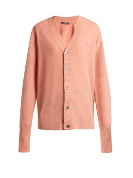 Brand New Acne Studios Neve Face Wool Cardigan Pink Size S