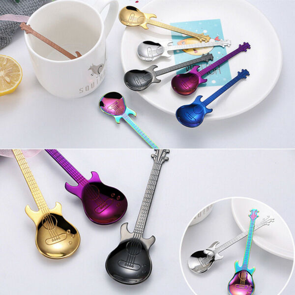 Guitar Shaped Mixing Spoon Steel Coffee Dessert Spoon Party Kitchen Supplies
