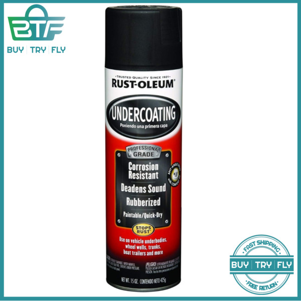 Rust Oleum Rubberized Undercoating Spray Grade Black Paint Car Automotive 15 oz