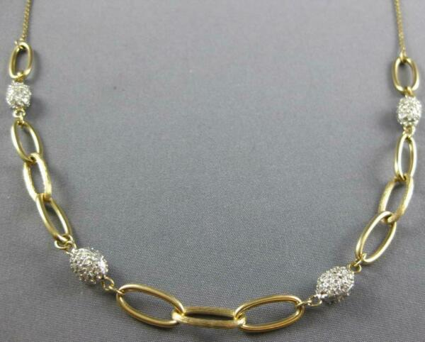 ESTATE 1.40CT DIAMOND 14KT YELLOW GOLD 3D OVAL BY THE YARD LINK FUN NECKLACE