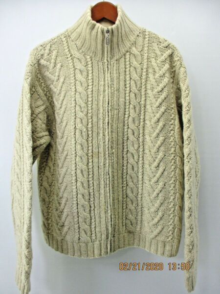 VINTAGE J.CREW WOMEN'S IVORY WOOL FULL ZIP CABLE KNIT CARDIGAN SWEATER  MED