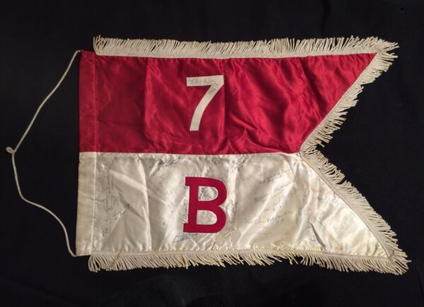 """WWII SWALLOWTAIL GUIDON OF COMPANY """"B"""" 7th CAVALRY REGIMENT: SIGNED BY COMPANY"""
