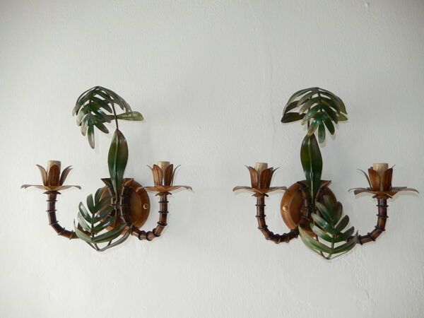 ~1950 Rare French Faux Bamboo Palm Tree Mid Century Sconces Wall Lights~