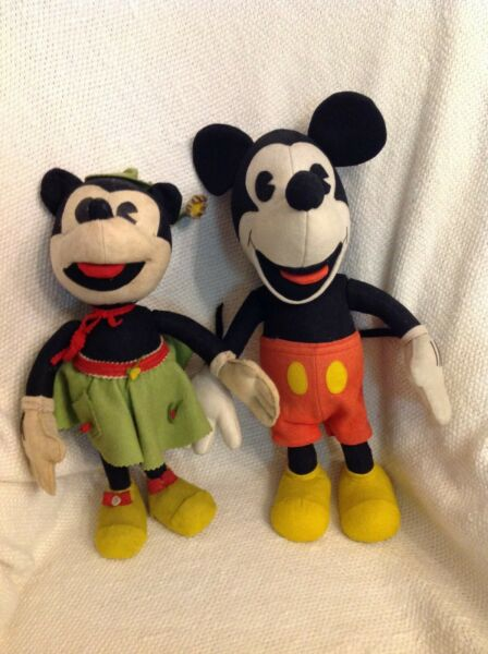 Scarce 1930s Walt Disney Lenci Mickey and Minnie Mouse Rare Felt Cloth Dolls